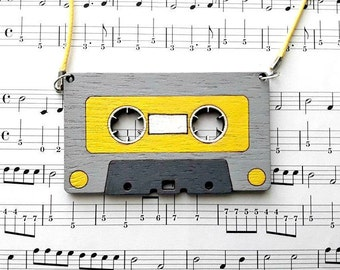 Music Necklace, Music Jewelry, Music gift for Her,Cassette Tape Necklace, Gift for Musician, Cassette Tape, Retro Necklace, Funky Jewellery