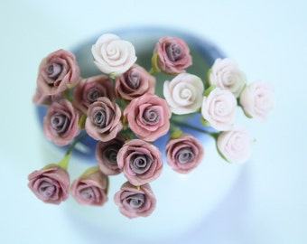 Handmade Miniature Roses Polymer Clay Beads Supplies 24 pcs