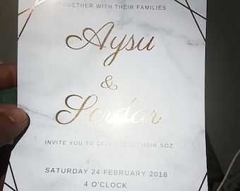 Marble & Gold Engagement Invitation