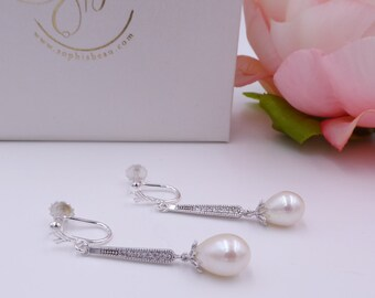 Clip on Art Deco slim Drop earring, Freshwater pearl, pave inset, Vintage Downton Abbey, white, 1920's wedding, brides, mother of the bride,