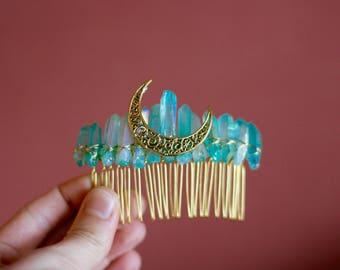 Raw Aquamarine Aura Quartz Crystal and Crescent Moon Bridal Hair Comb Crystal Comb Wedding Accessory Women's Gift With Gift Box