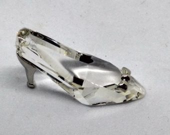 Retired Swavorski Crystal High Heeled Shoe with Rhodium Bow and Heel, marked with Swavorski Swan