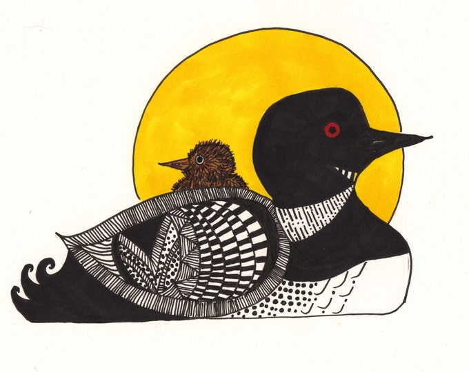 Momma Loon and Chick Cards
