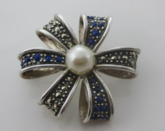 Vintage Sterling Silver Flux Pearl Marcasite Brooch