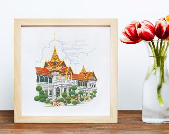Cross stitch finished picture. Bangkok Grand palace. Bangkok wall art. Gift idea. Living room decor. Home decor. Complete embroidery.
