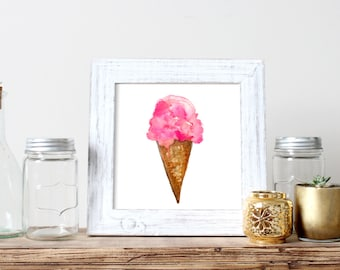 Ice Cream Cone Watercolor Print
