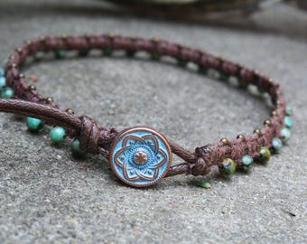 African Turquoise Anklet, Macrame Anklet, Beaded Macrame, Waxed Cotton Anklet, Gifts for her, Boho Anklet, Stone Anklet, Button Clasp