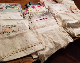 Over 11 Pounds Cutter Vintage Linens for Crafts / Embroidery / Tablecloths & Pillowcases / Sheets and More