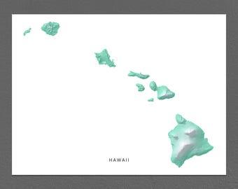 Hawaii Map Print, Hawaii Art, Hawaiian Islands, Home Decor, Tropical Art