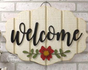 Spring Door Sign Welcome sign Flower Door Hanger Cream White Red painted wood shiplap sign Rustic Fixer upper Farmhouse Decor Door Hanging