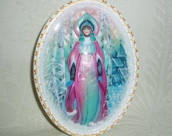 "Beautiful Russian Lacquer box Shell Fedoskino ""Snow Maiden in winter forest"" Hand Painted"