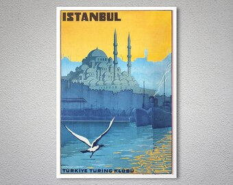 Istanbul Vintage Travel Poster - Poster Paper, Sticker,  Canvas Print / Gift Idea