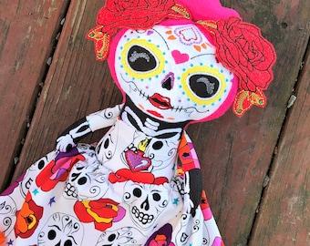 Sugar Skull Doll - Day of the Dead Girl - Sugar Skull - Handmade - Skeleton Doll - Halloween Doll - Dia de los Muertos