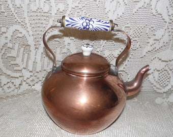 Vintage Solid Copper Porcelain Delft Blue White Handle Knob Tea Pot ODI Made In Portugal