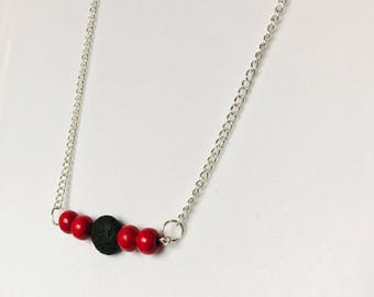Red and Black Lava Bead Essential Oil Diffuser Necklace