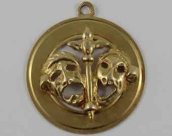 Comedy & Tragedy Masks 14K Gold Vintage Charm For Bracelet