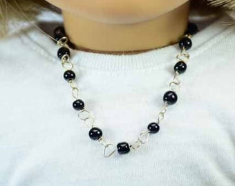 Black Faux Pearl NECKLACE and BRACELET JEWELRY Accessory Set for American Girl or 18 Inch Doll