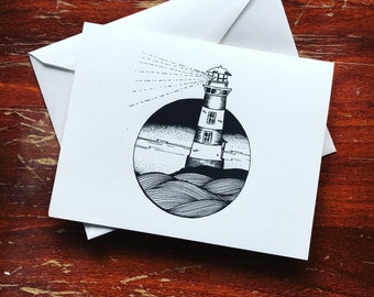 Light house greeting cards illustration black and white illustration stationery
