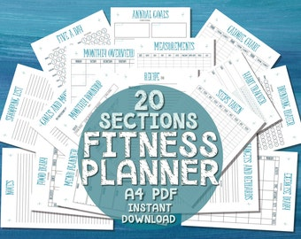 Printable A4 Fitness Planner - 20 SECTIONS - Turquoise Blue - Diet Exercise & Weight Loss Tracker Health Fitness Journal - Instant Download