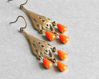 Orange Drop Earrings, Antiqued Brass Filigree Chandelier Earrings, Bright Orange Earrings, Boho Chic Jewelry