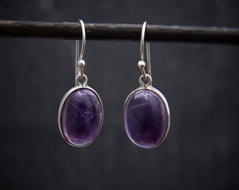Amethyst Earrings, Amethyst Drops, Silver Earrings, Amethyst and Silver, February Birthstone, Birthstone Jewellery