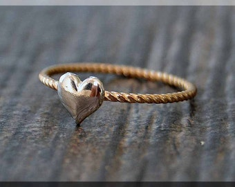 14k Gold Filled and Sterling Silver Heart Ring, Gold Filled Twist Ring, Puffed Heart Ring, Love Mixed Metal Ring, Delicate Heart Ring