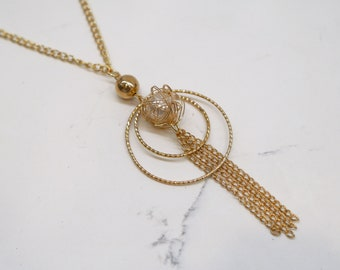 Gold Pendant Necklace - Circle Necklace - Tassel Necklace - Gold Chain Necklace - Pearl Bead Necklace - Gold Bead Necklace - Charm Necklace