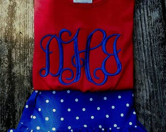 Girls short set, 4th of july outfit, ruffle shorts, monogrammed clothing, girls clothing, Boutique clothing, childrens clothing
