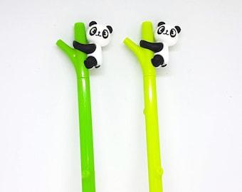 Panda Bear Pens. Cute Animal Pen Set. Kawaii School Supplies. Back to School. Black Gel Pens. Cute Stationery. Panda Bear Gift. Novelty Pens