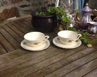 Large French Tea Cups / French cups / Vintage tea cups / St Amand tea cups / French Chocolate cups / vintage floral cups / cup and saucer
