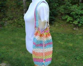 Drawstring Market Bag, Crochet Market Tote Bag, Multicolor Bag, Crochet Carryall Tote, Beach Tote Bag, Single Strap