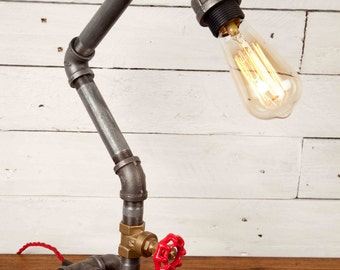 THE DESK, Industrial style, Edison bulbs, Industrial Lighting, Steampunk, DeskLamp, Table Lamp, Desk, Iron pipe light, Urban chic, Rustic