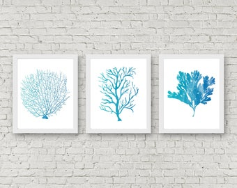 Instant Download   Set Of 3 Art Prints   Watercolor Sea Coral Wall Art   Fan