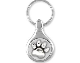 Dog Paw Key Ring Jewelry Sterling Silver Handmade Dog Key Ring PW9-KE