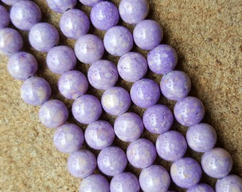 """6mm Round Fossil Beads, Dyed Lilac - 16"""" Strand"""
