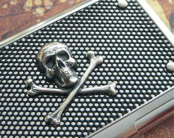 Silver Skull Business Card Case Skull Card Case Industrial Design Steampunk Card Case Gothic Victorian Skull & Crossbones Gifts For Him Her