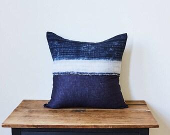"""Vintage Hmong Hemp White Stripe Batik Textile Pillow 20"""" x 20"""""""