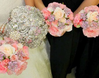 Brooch Bouquet - Wedding Bouquet - Bridal Bouquet - Broach Bouquet - Bling Bouquet - Jeweled Bouquet - Crystal Bouquet - Deposit