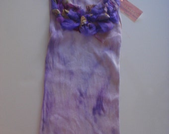 violet & purple  tones on this hand dyed and silk embellished tee