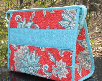 READY to SHIP-Open Wide Bag-LARGE-Perfect as a Sewing Kit, Lingerie Bag, Cosmetic/Toiletry Bag-Salmon/Coral and Teal
