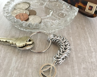 12 Step Recovery Key Chain - AA Keychain - Alcoholics Anonymous Gift - Chainmaille KeyChain