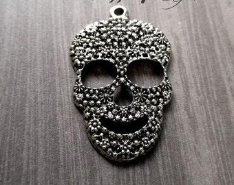 Skull Pendant Antiqued Silver Sugar Skull Pendant Calavera Pendant Day of the Dead Skull Pendant