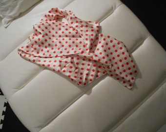 very long vintage polka dot silky  scarf of sorts