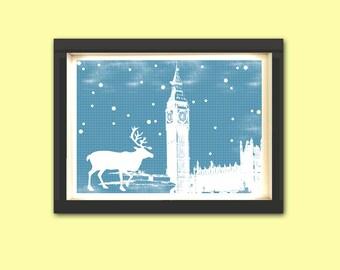 Reindeer in westminster abbey  Print -  reindeer silhouette, deer art,  christmas