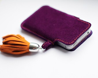IPhone 5,6 Purple Suede Case with Tassel art.208