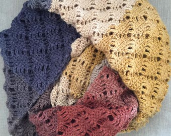 Hand Crocheted Diamond Lace Multicolor Scarf