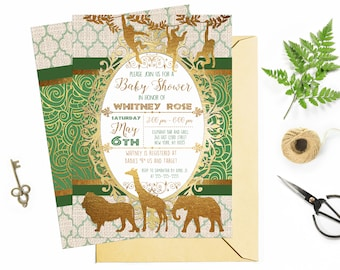 Emerald Green and Gold Safari Baby Shower Invitation, African Animals Printable Invitation, Green and Gold foil, Custom Digital Party Invite