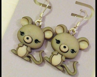 Cute Repurposed Button, Mice, Grey Mouse Earrings on Silver Plated Earwires, Dangles