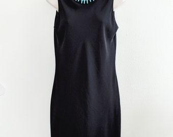 Vintage Black Chiffon Tank Dress, Little Black Dress - S