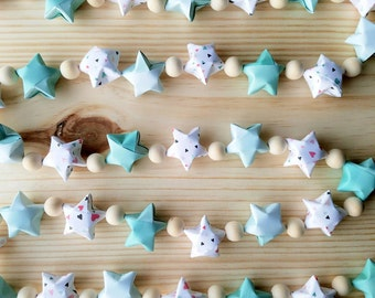 Origami Paper Star & Wood Bead Garland - Bunting - Aqua and Multi-Colored Hearts - Girls Nursery - Home or Party Decor - Photo Prop - Modern